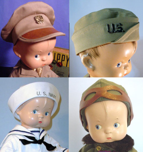 Effanbee Skippy Doll Hats, Pin, Ties & Goggles