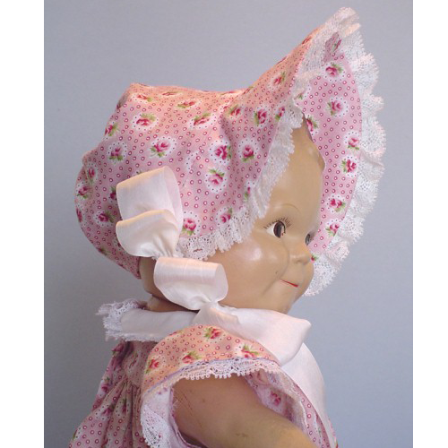 Scootles Bonnet - Bonnet is trimmed with cotton lace and rayon ties. pink side