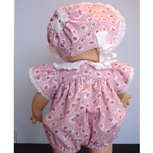 Scootles Romper and Bonnet - Darling bubble outfit with tons of lace. Bonnet is trimmed with more lace and rayon ties. pink