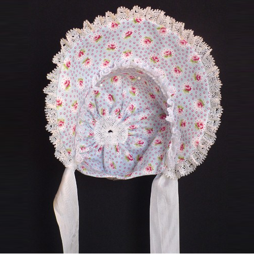 Scootles Bonnet - Bonnet is trimmed with cotton lace and rayon ties. front