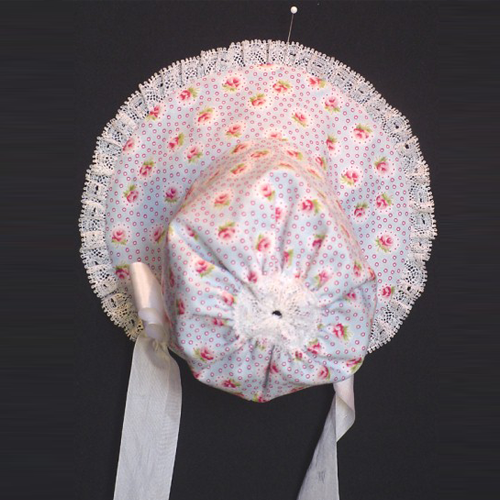 Scootles Bonnet - Bonnet is trimmed with cotton lace and rayon ties. blue