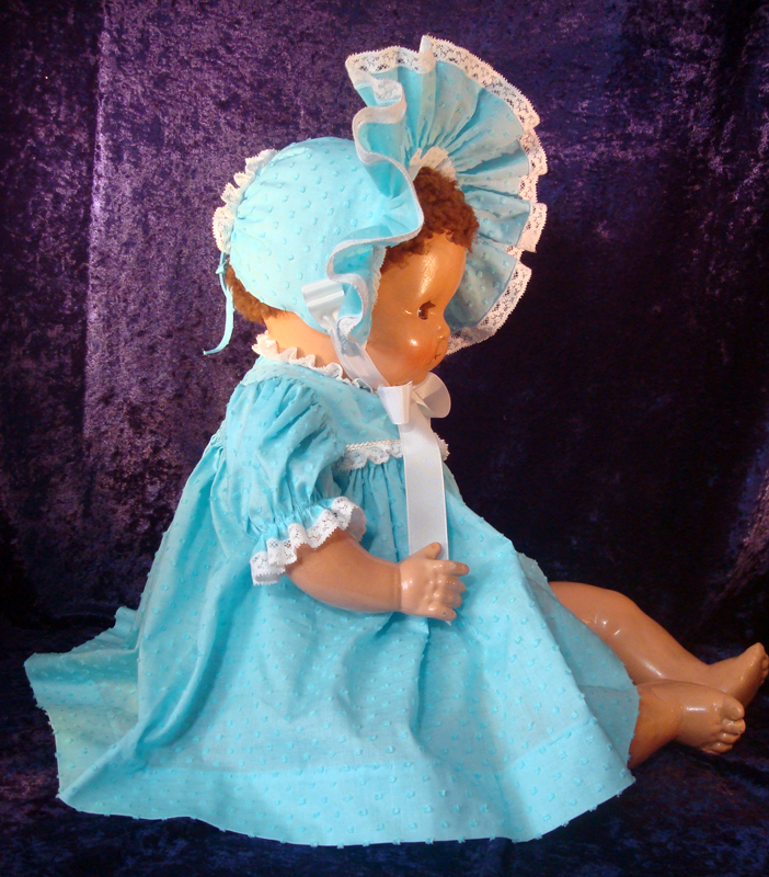 Baby Doll Dress Aqua Dotted