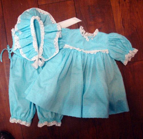 Baby Doll Dress Aqua Dotted