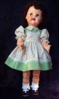 Saucy Walker Doll Dress Green Two-Tone