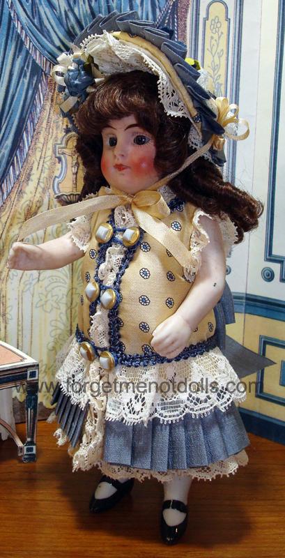 """7""""Bisque Doll Silk Dress4"""
