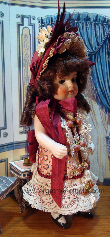 "7""Bisque Doll Silk Dress3"