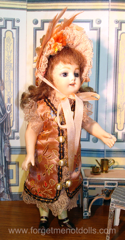 "7""Bisque Doll Silk Dress2"