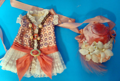 "7""Bisque Doll Silk Dress1"
