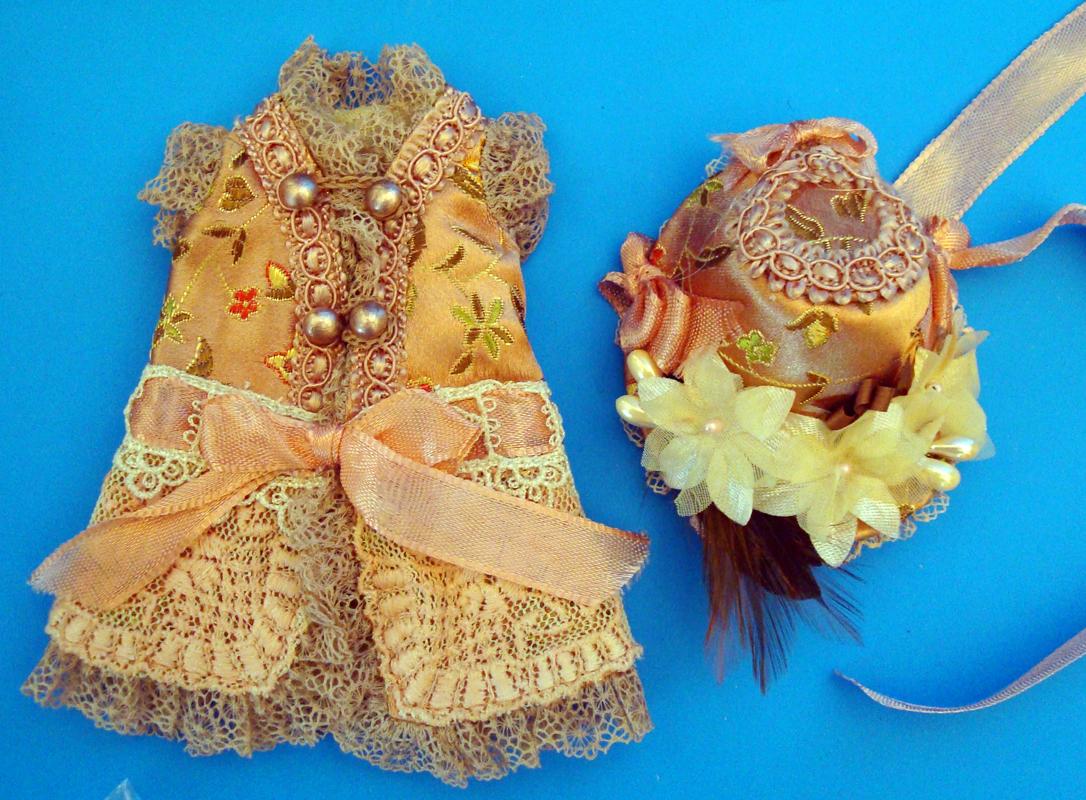 """7""""Bisque Doll Silk Dress5"""