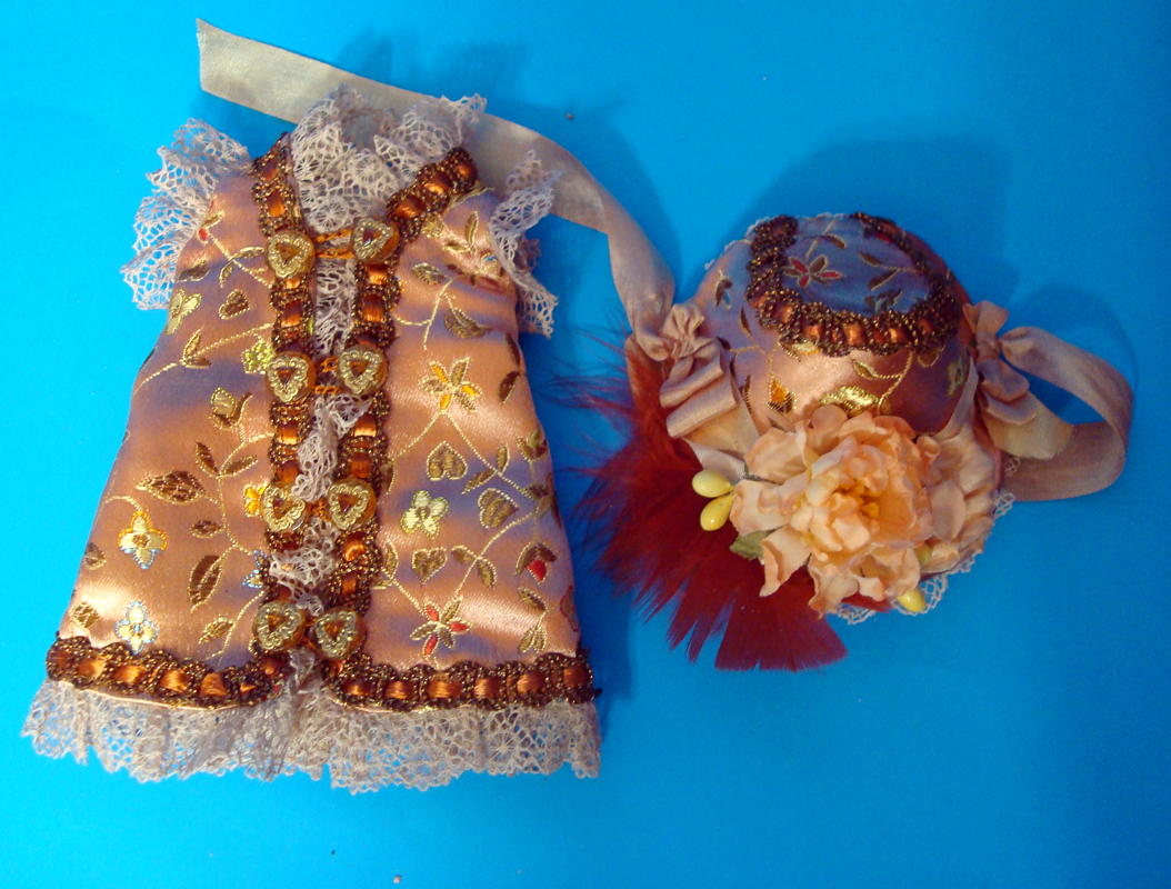 "7""Bisque Doll Silk Dress4"