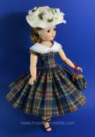 CissyDoll BluePlaid Dress &Hat