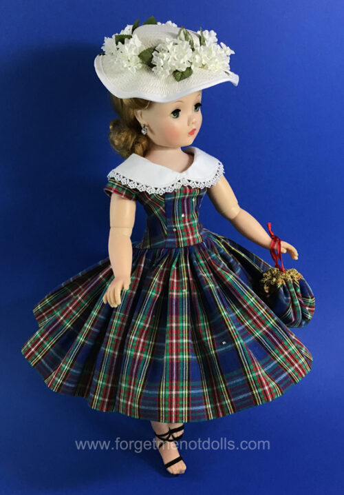 CissyDoll BluePlaid Dress &Hat